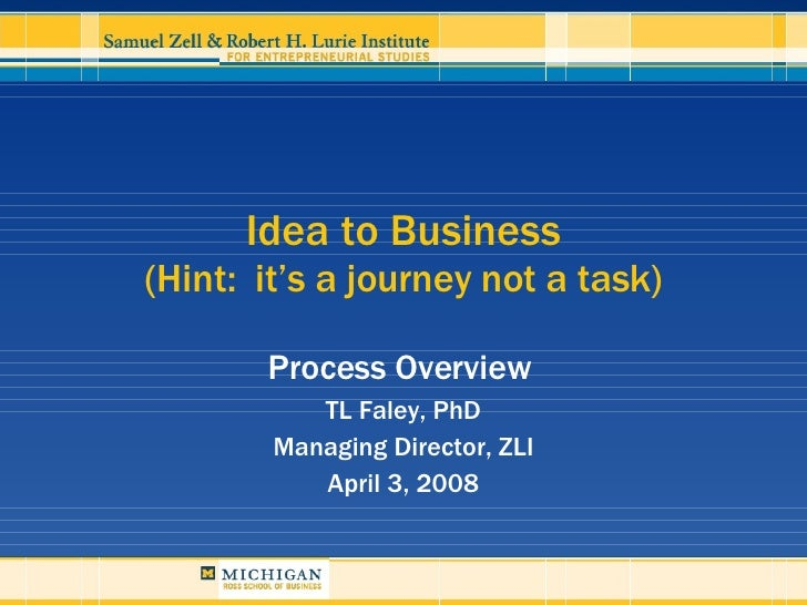 Idea to Business (Hint:  it's a journey not a task) Process Overview  TL Faley, PhD Managing Director, ZLI April 3, 2008