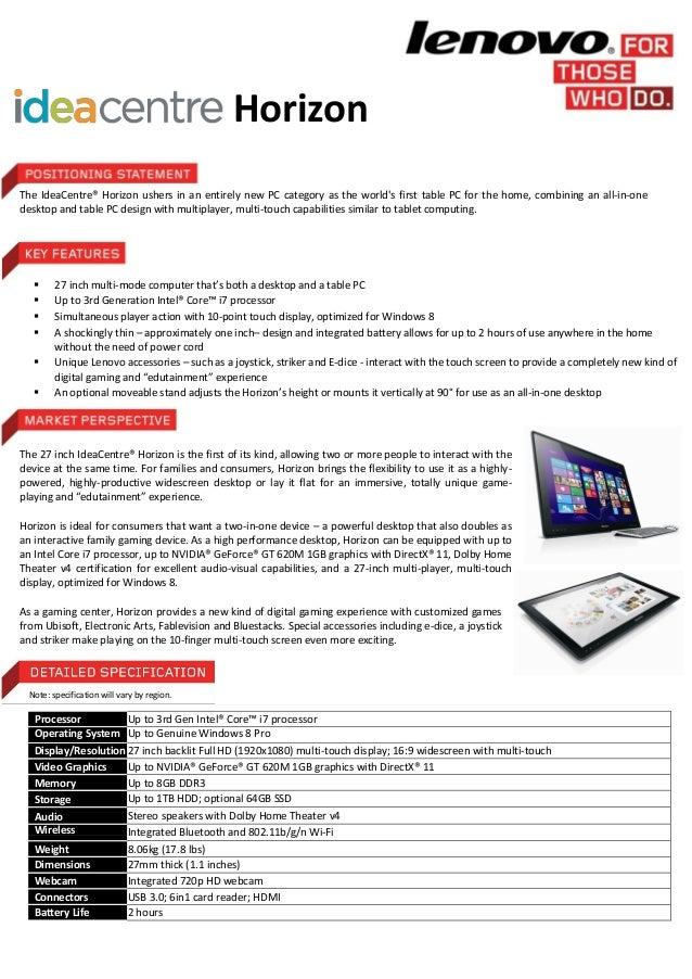 Lenovo idea centre horizon spec sheet for New home spec sheet