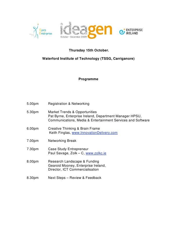 Ideagen Wit Programme Schedule.Doc