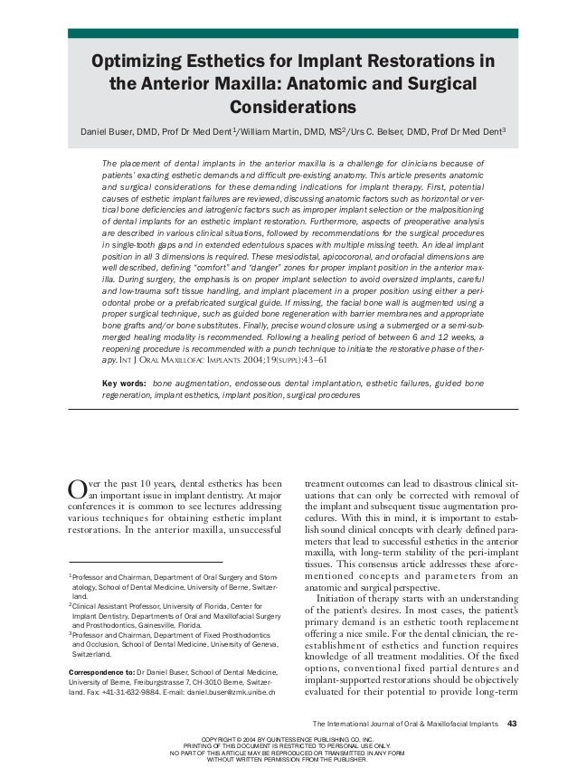 43-61 Buser   11/23/04        4:04 PM     Page 43                    Optimizing Esthetics for Implant Restorations in     ...