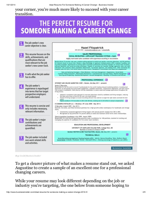 resumes for changing careers