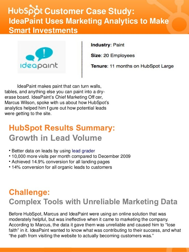 Customer Case Study:  IdeaPaint Uses Marketing Analytics to Make  Smart Investments      IdeaPaint makes paint that can tu...