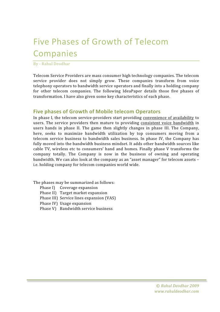 FivePhasesofGrowthofTelecom Companies By‐RahulDeodhar  TelecomServiceProvidersaremassconsumerhighte...