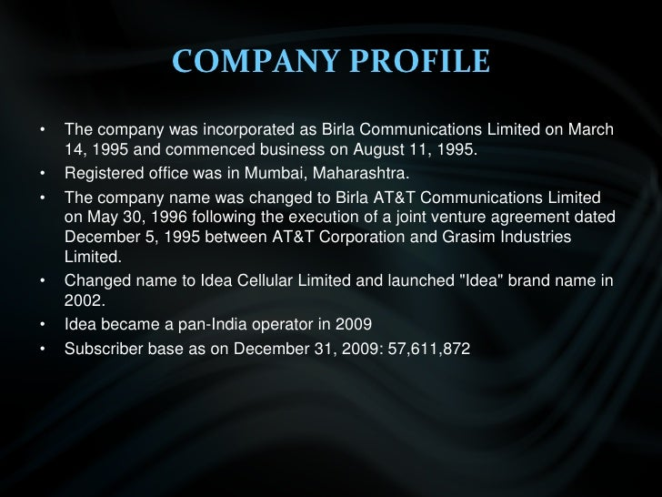COMPANY PROFILE<br />The company was incorporated as Birla Communications Limited on March 14, 1995 and commenced business...