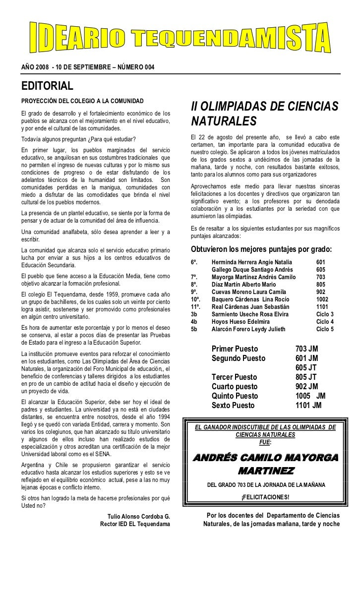 AÑO 2008  - 10 DE SEPTIEMBRE – NÚMERO 004                                                                           <br />...