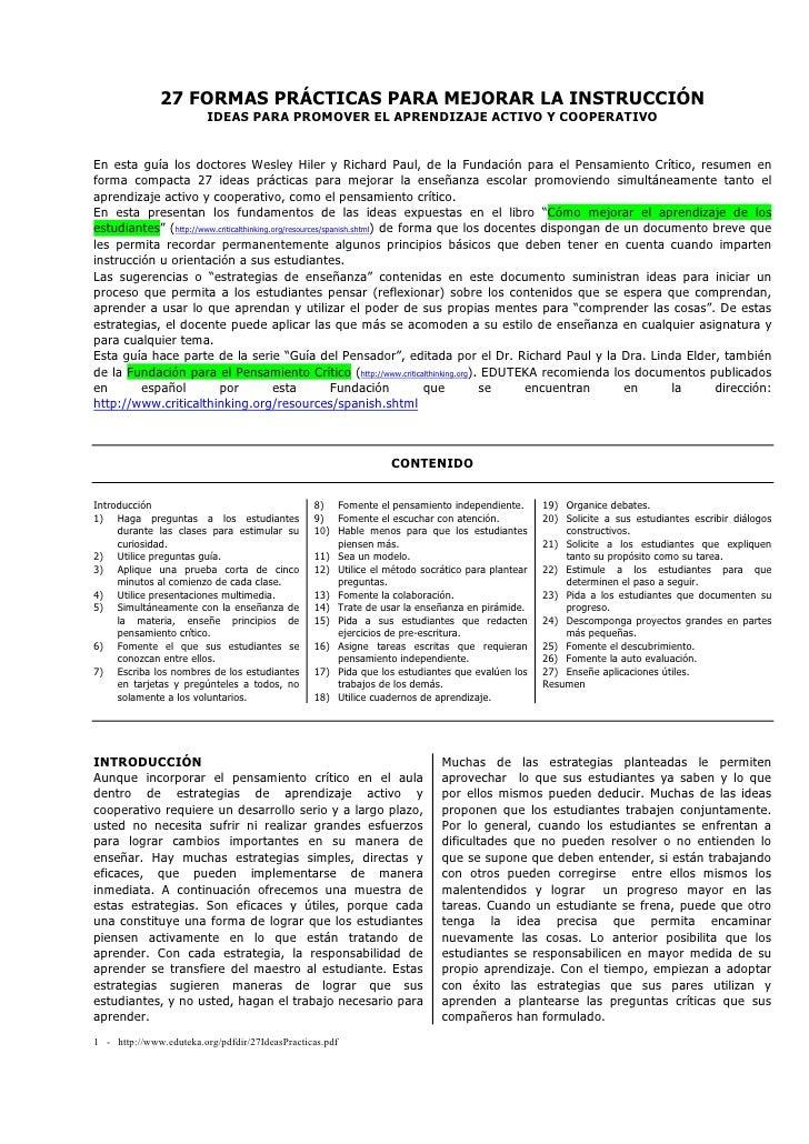 27 FORMAS PRÁCTICAS PARA MEJORAR LA INSTRUCCIÓN                          IDEAS PARA PROMOVER EL APRENDIZAJE ACTIVO Y COOPE...