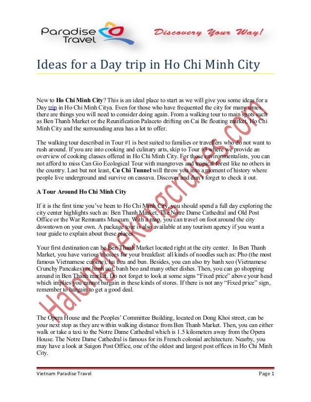 Ideas for a Day trip in Ho Chi Minh City New to Ho Chi Minh City? This is an ideal place to start as we will give you some...