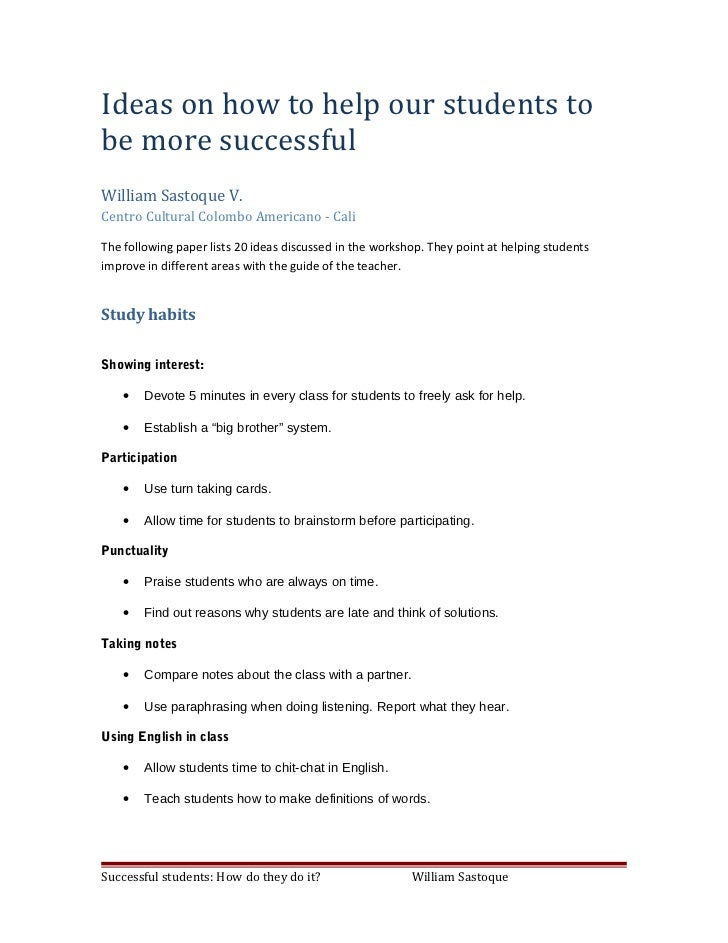 Ideas on how to help our students to be more successful