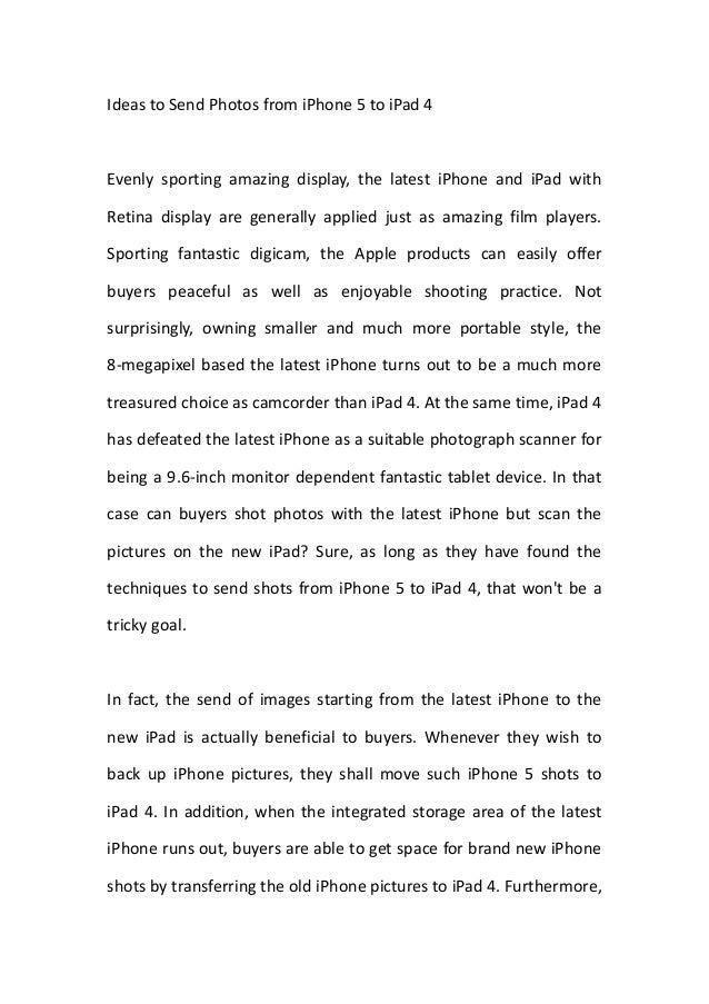 Ideas to send photos from i phone 5 to ipad 4