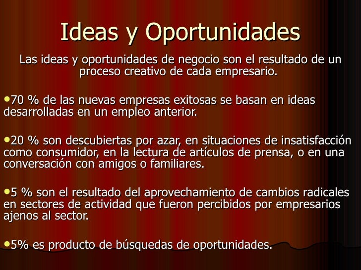 Ideas y oportunidades