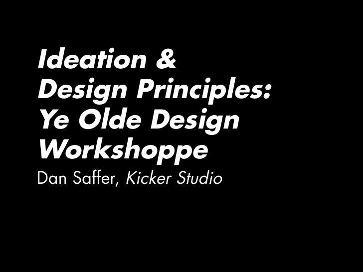 Ideation and Design Principles Workshop