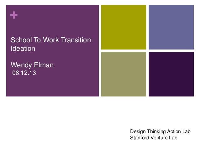 + School To Work Transition Ideation Wendy Elman 08.12.13 Design Thinking Action Lab Stanford Venture Lab