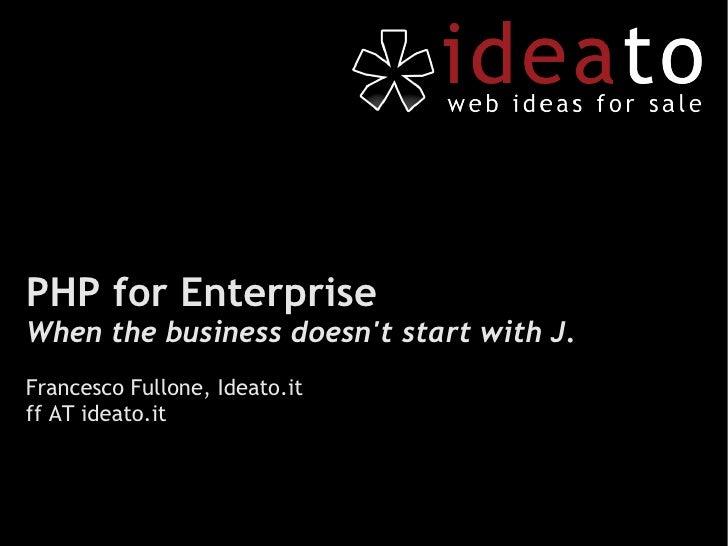 PHP for Enterprise
