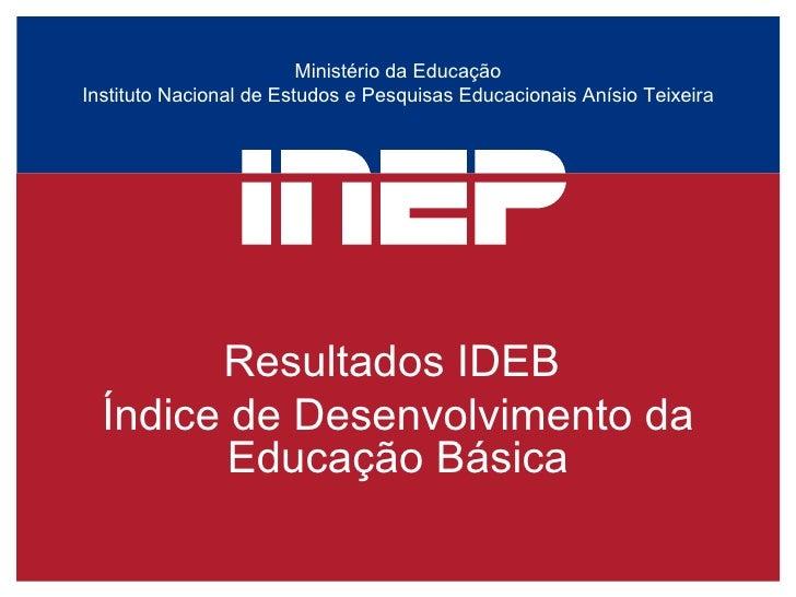 Ministério da Educação Instituto Nacional de Estudos e Pesquisas Educacionais Anísio Teixeira Resultados IDEB  Índice de D...