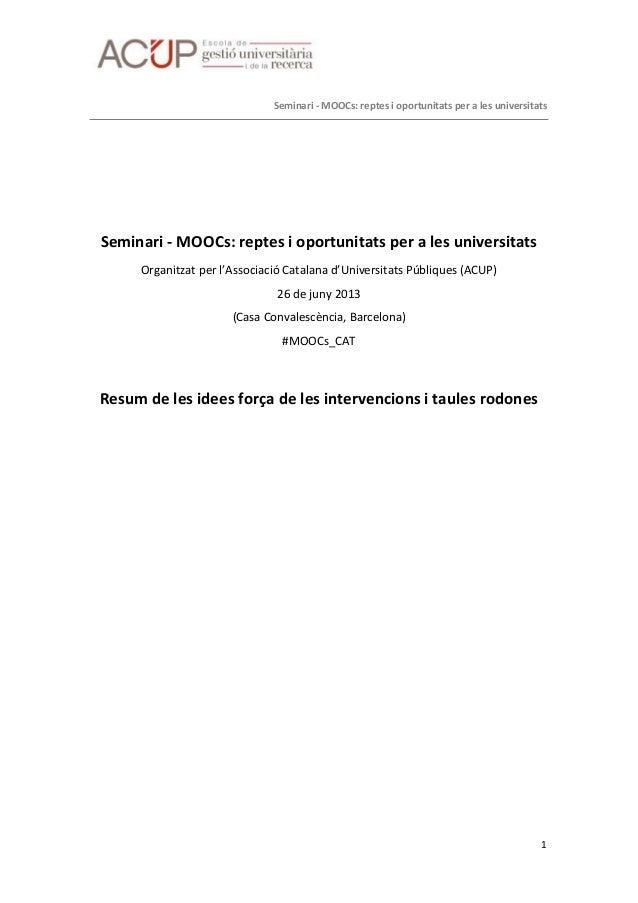 Idees força seminari MOOCs ACUP