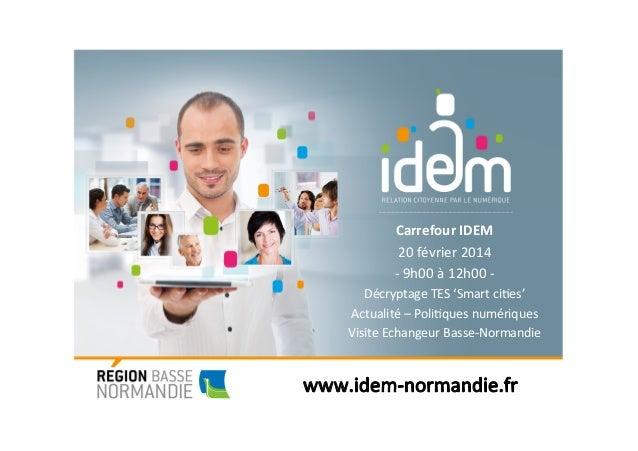 Carrefour(IDEM( 20#février#2014# ,#9h00#à#12h00#,# Décryptage#TES#'Smart#ci<es'# Actualité#–#Poli<ques#numériques# Visite#...