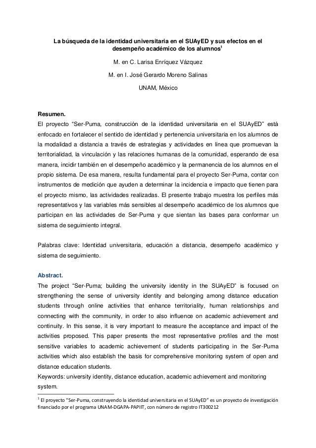 La búsqueda de la identidad universitaria en el SUAyED y sus efectos en el desempeño académico de los alumnos1 M. en C. La...