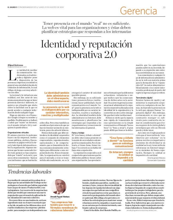 EL MUNDO ECONOMÍA&NEGOCIOS / LUNES 23 DE AGOSTO DE 2010                            /                                      ...