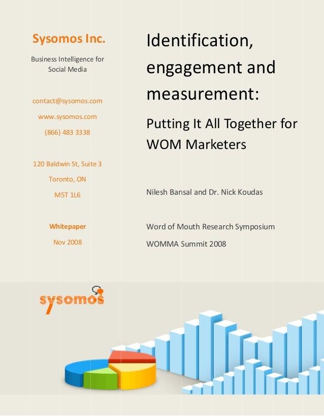 Sysom BusinessI Soci contact@ www.sy (866) 120Baldw Toro M Whi No mosIn ntelligence alMedia @sysomos.c ysomos.co...