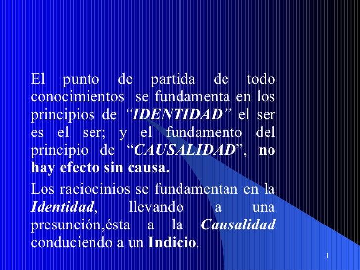 """El punto de partida de todo conocimientos  se fundamenta en los principios de  """" IDENTIDAD """"  el ser es el ser; y el funda..."""