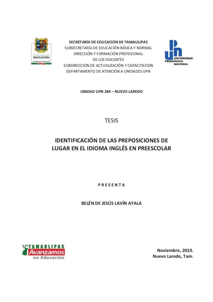 Identificacion de las Preposiciones de Lugar en el Idioma Ingles en Preescolar