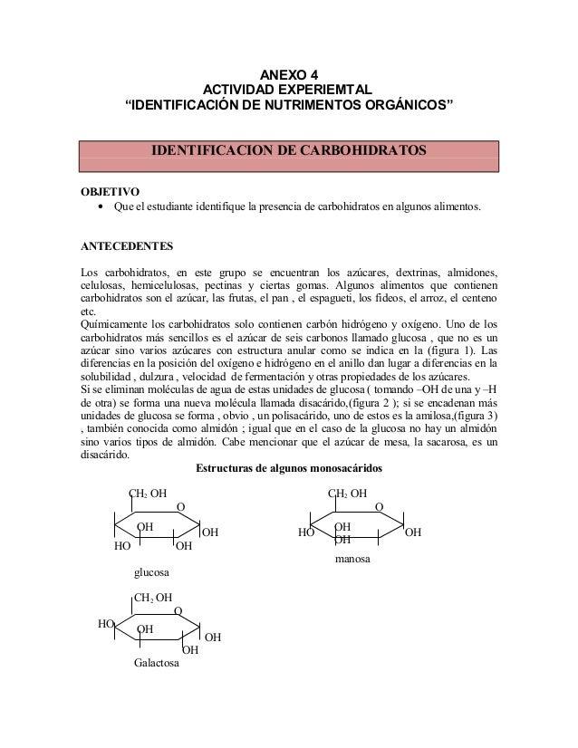 """ANEXO 4ACTIVIDAD EXPERIEMTAL""""IDENTIFICACIÓN DE NUTRIMENTOS ORGÁNICOS""""IDENTIFICACION DE CARBOHIDRATOSOBJETIVO• Que el estud..."""
