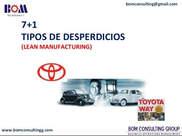 www.bomconsultingg.com bomconsulting@gmail.com 7+1 TIPOS DE DESPERDICIOS (LEAN MANUFACTURING)
