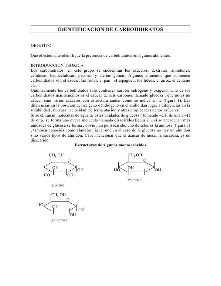 IDENTIFICACION DE CARBOHIDRATOSOBJETIVOQue el estudiante identifique la presencia de carbohidratos en algunos alimentos.IN...