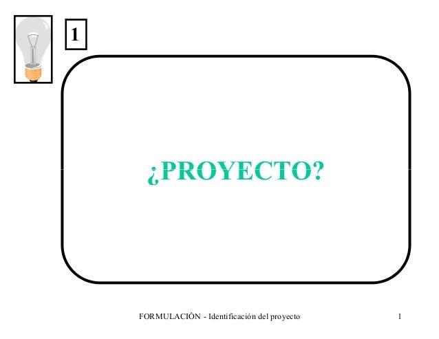 1  ¿PROYECTO?  FORMULACIÓN - Identificación del proyecto  1
