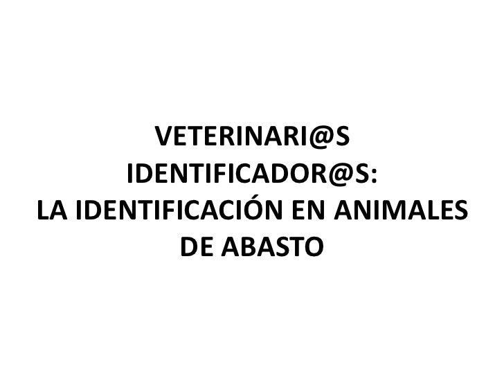 VETERINARI@S      IDENTIFICADOR@S:LA IDENTIFICACIÓN EN ANIMALES           DE ABASTO