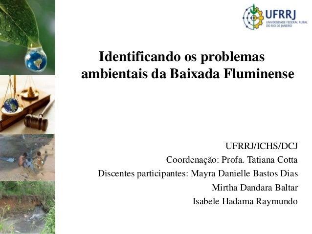 Identificando os problemasambientais da Baixada Fluminense                                    UFRRJ/ICHS/DCJ              ...