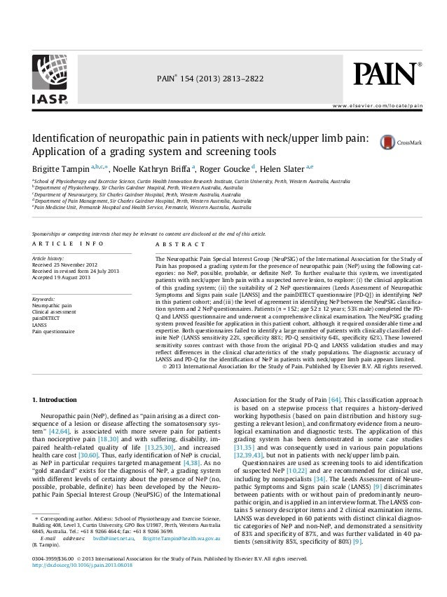 Identification of neuropathic pain in patients with neck upper limb pain- application of a grading system and screening tools