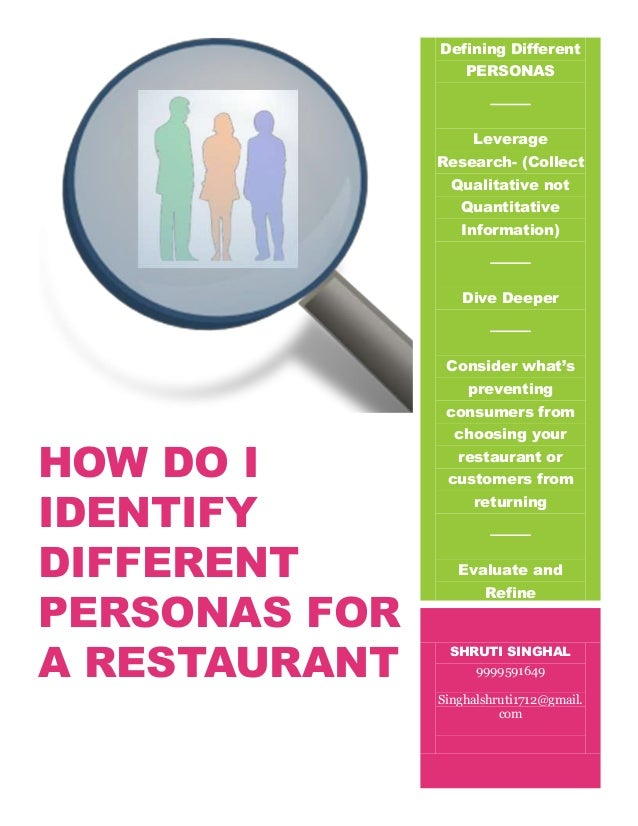 Identify different personas for a restaurant