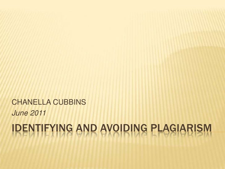 Identifying and avoiding plagiarism