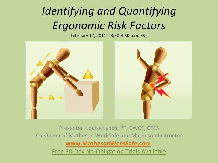Identifying and Quantifying Ergonomic Risk Factors February 17, 2011 – 3:30-4:30 p.m. EST Presenter: Louise Lynch, PT, CWC...