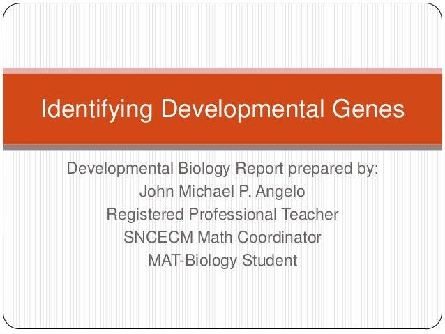 Developmental Biology Report prepared by: John Michael P. Angelo Registered Professional Teacher SNCECM Math Coordinator M...