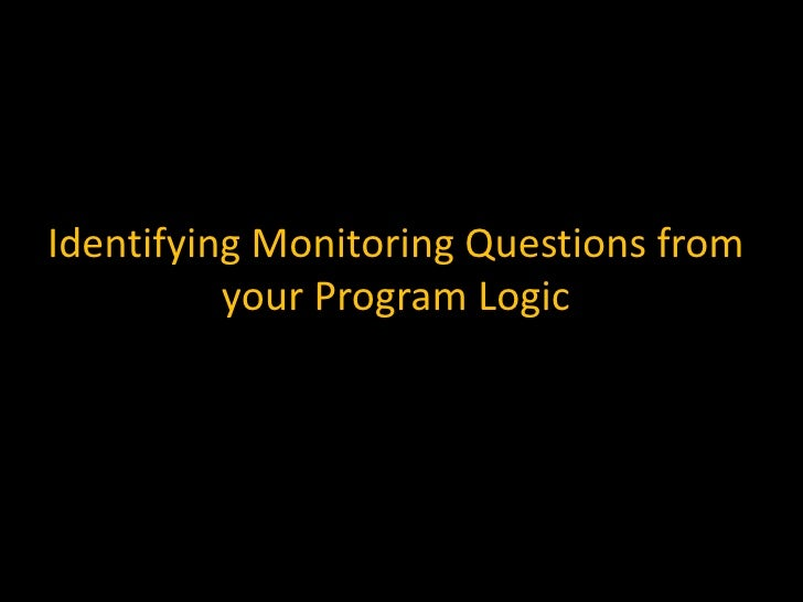 Identifying Monitoring Questions from your Program Logic