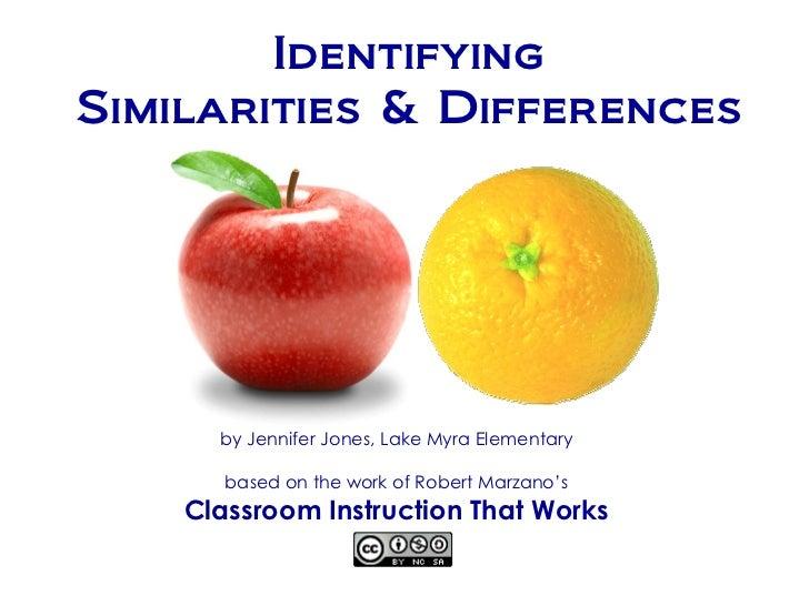 IdentifyingSimilarities & Differences      by Jennifer Jones, Lake Myra Elementary       based on the work of Robert Marza...
