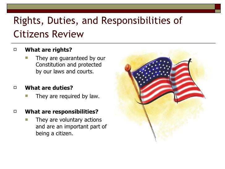 "essay on rights and responsibilities Short essay on the various rights and responsibilities of a citizen for children with great power comes great responsibility"" is perhaps."