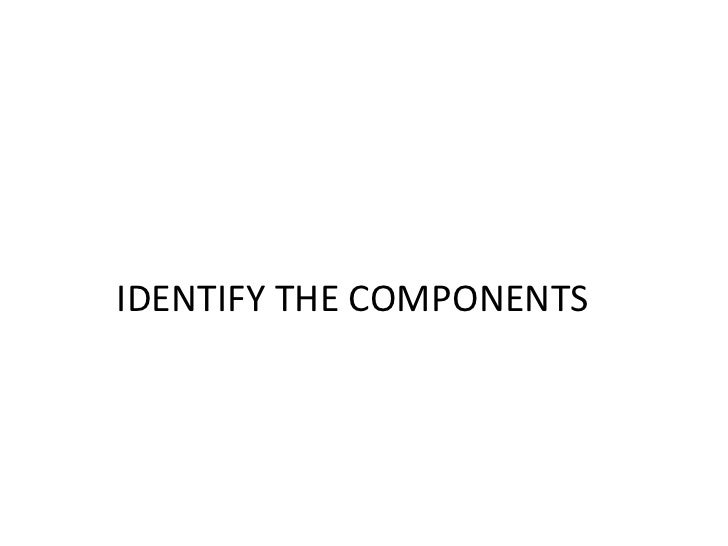 IDENTIFY THE COMPONENTS<br />