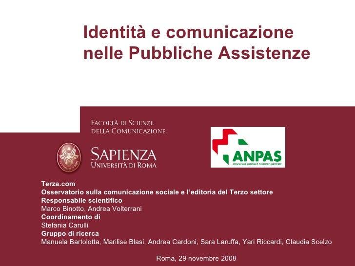 Identità E Comunicazione Nelle Pubbliche Assistenze