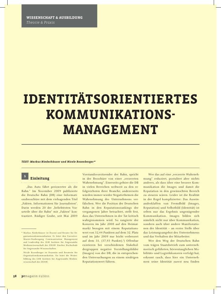 Identitätsorientiertes Kommunikationsmanagement, prmagazin 2011