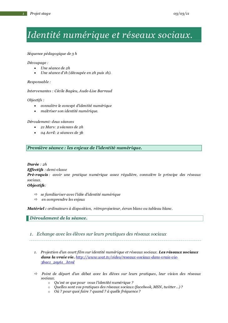 1    Projet stage                                                                          03/03/11    Identité numérique ...