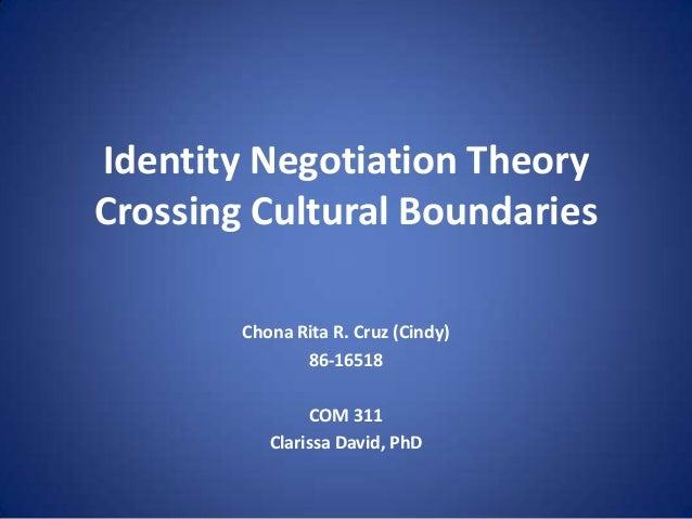 Identity Negotiation Theory Crossing Cultural Boundaries Chona Rita R. Cruz (Cindy) 86-16518  COM 311 Clarissa David, PhD