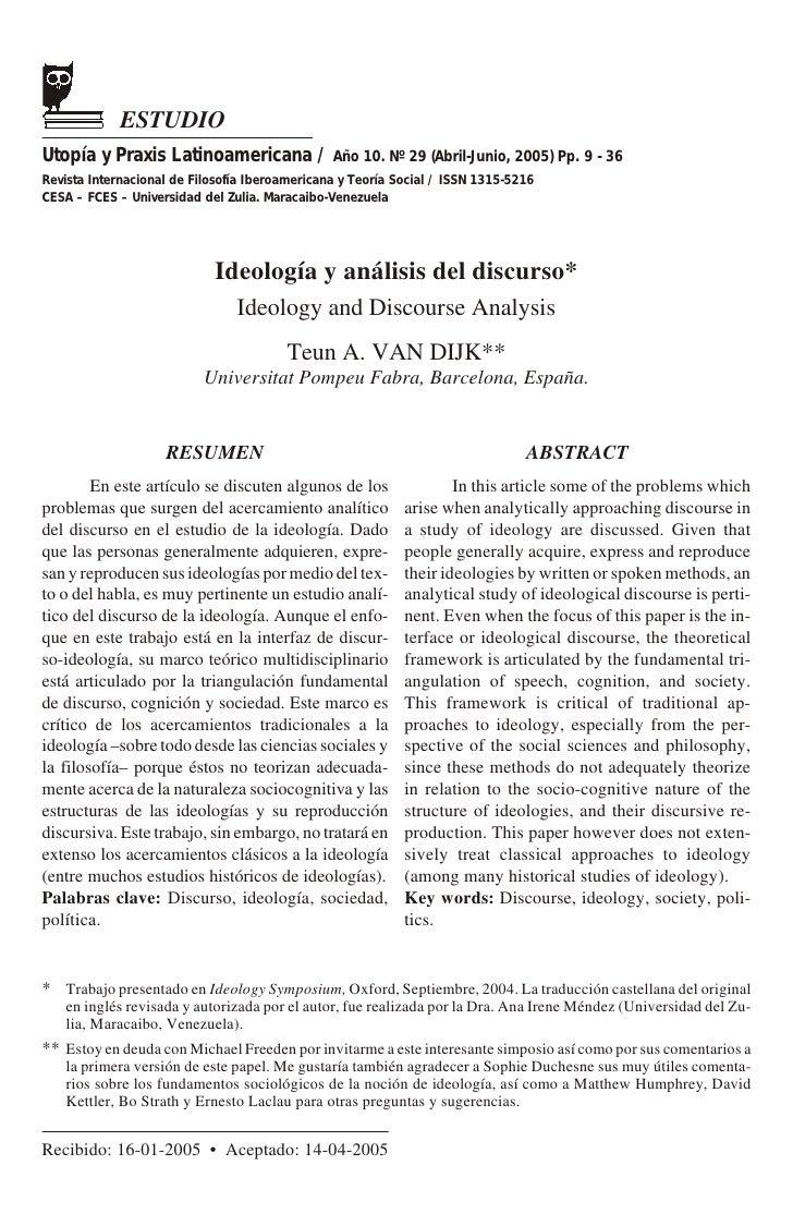ESTUDIO Utopía y Praxis Latinoamericana / Año 10. Nº 29 (Abril-Junio, 2005) Pp. 9 - 36 Revista Internacional de Filosofía ...