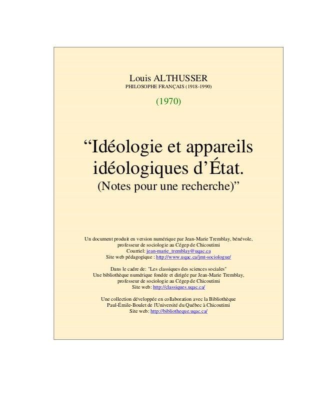 """Louis ALTHUSSER PHILOSOPHE FRANÇAIS (1918-1990) (1970) """"Idéologie et appareils idéologiques d'État. (Notes pour une recher..."""