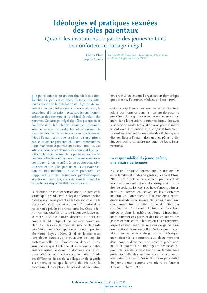 Idéologies et pratiques sexuées                       des rôles parentaux           Quand les institutions de garde des je...