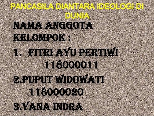 PANCASILA DIANTARA IDEOLOGI DI            DUNIANama anggotakelompok :1. Fitri Ayu Pertiwi      1180000112.Puput Widowati  ...