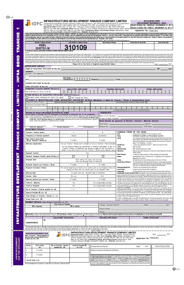 Idfc Long Term Infrastructure Bond Tranche 1 Application Form