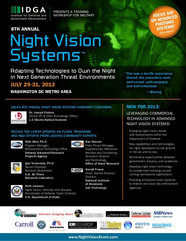 1 PRESENTS A TRAINING WORKSHOP FOR MILITARY www.NightVisionEvent.com Focus day on advanced photonic systems! (See page 3) ...